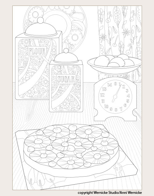 Sample page of coloring book for adults with cake on vintage counter