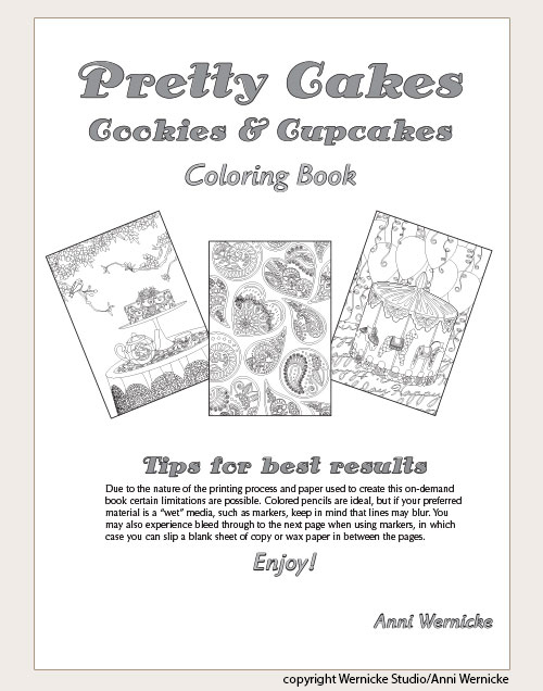 Title page of coloring book for grownups with baked goods subject