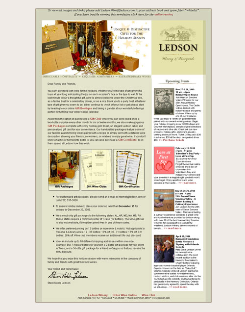 email design for Ledson Winery gift packages
