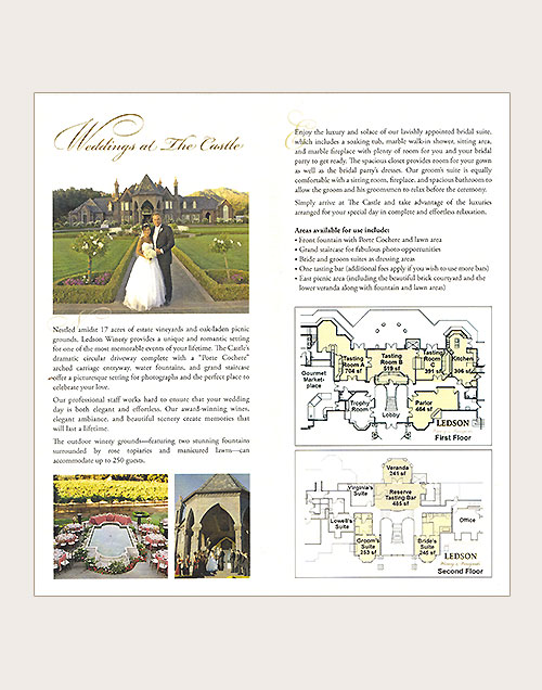 Brochure for Ledson Winery as a wedding facility