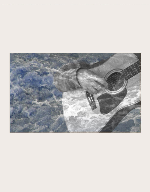 Image collage of guitar player and waves