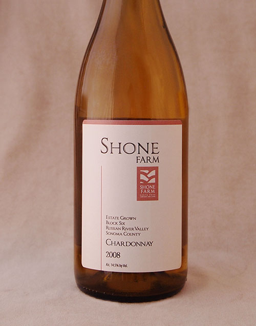wine bottle with shone farm logo